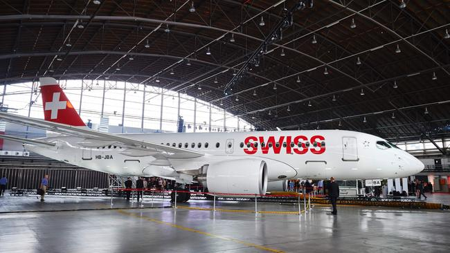 Swiss International Airline's new Bombardier CS100 passenger jetliner on display at Zurich Airport in July. Picture: Michael Buholzer/AFP