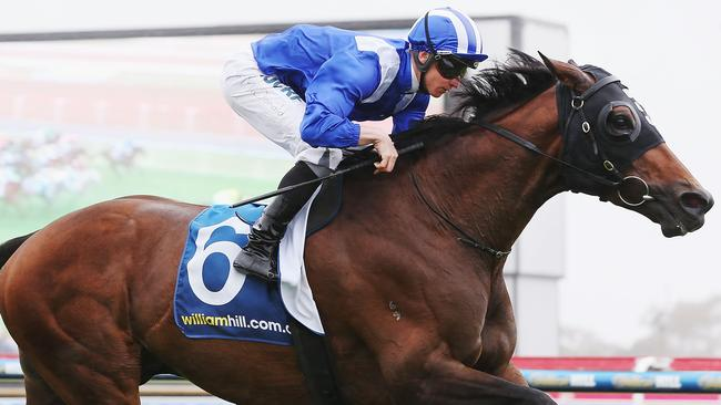 The mane man: James McDonald rides Almoonqith to the easiest of Geelong Cup wins. Photo by Michael Dodge/Getty Images.