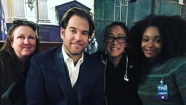 Director Jet Wilkinson (second from right) with Michael Weatherly and crew on set of Bull. Picture: Instagram