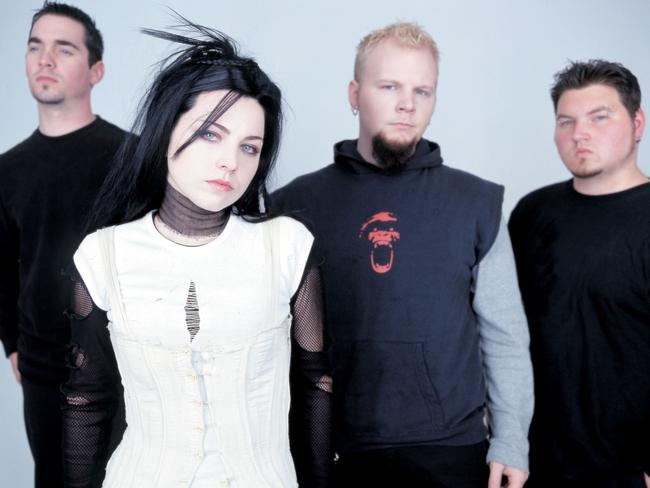 Early days — Amy Lee and former band members in Evanescence circa 2013. Picture: Sony Music
