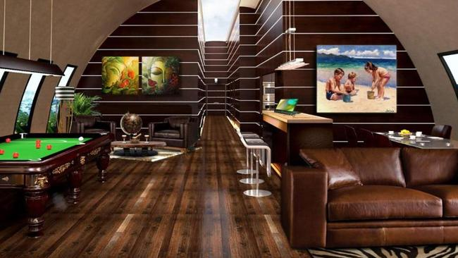 Games rooms and cinemas characterise the one-stop village, where people could live for up to a year. Picture: Vivos Group