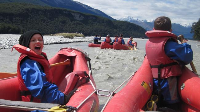 Samantha and Alex Seymour rafting the Dart River in New Zealand aboard a funyak. Picture: Trevor Seymour.