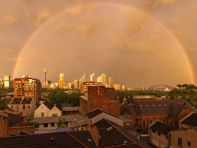 Calm before the storm: Beautiful rainbow in Sydney on Monday morning. Photo: Cedric Tourasse Photography www.cedric.photography/