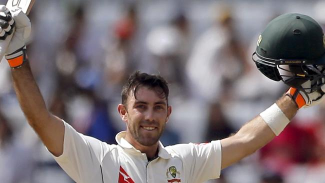 Australian bastman Glenn Maxwell celebrates bringing up his century in the third Test in Ranchi.
