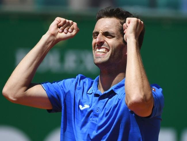 Spain's Albert Ramos-Vinolas celebrates his victory over Britain's Andy Murray.