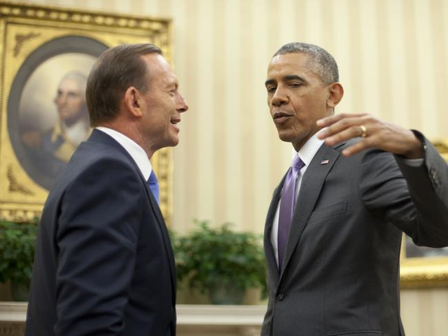 US President Barack Obama talks with Tony Abbott in the White House. The leaders discussed the Trans-Pacific Partnership, Australia's leadership in the G20 this year and the future of Afghanistan. Picture: AP/Pablo Martinez Monsivais