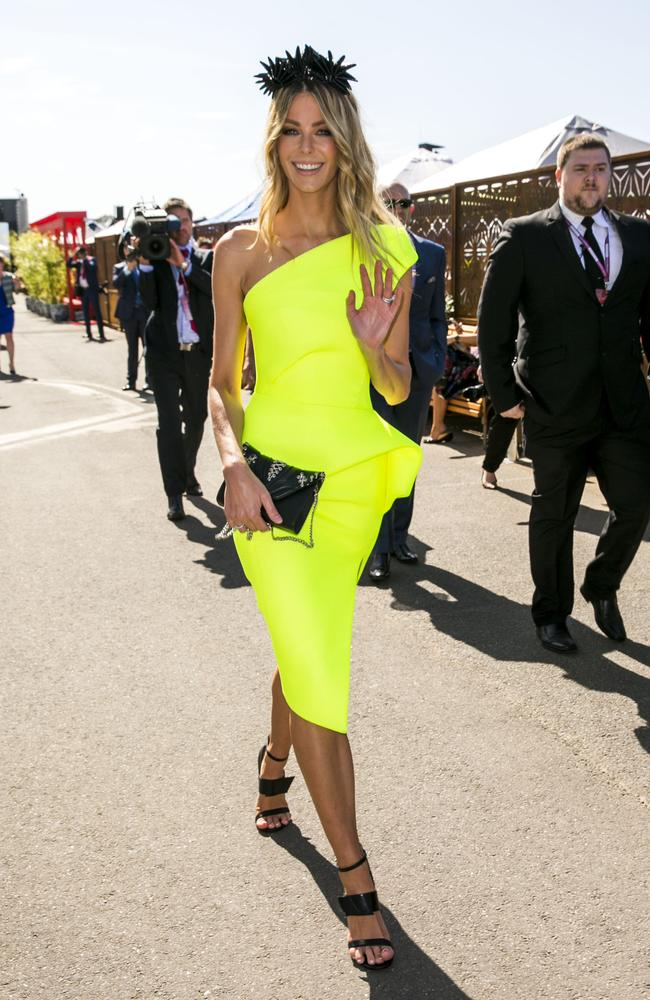 Jen Hawkins opted for yellow and black for the Myer Marquee at Flemington. Picture: ©MEDIA-MODE.COM