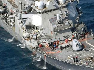 The damage of the right side of the USS Fitzgerald is seen off Shimoda, Shizuoka prefecture, Japan, after the Navy destroyer collided with a merchant ship, Saturday, June 16, 2017. The U.S. Navy says the USS Fitzgerald suffered damage below the water line on its starboard side after it collided with a Philippine-flagged merchant ship. (Iori Sagisawa/Kyodo News via AP)