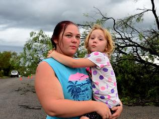 Supplied Editorial Cyclone Debbie. Collinsville. Rebekah Ross with daughter Maddison Ross look at some of the damage