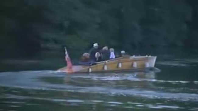 On his way out ... Rolf Harris avoids reporters by travelling by boat to court. Picture: ITV/Twitter