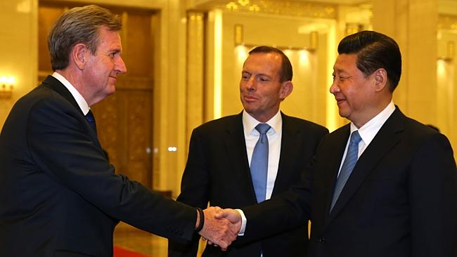 Premier NSW Barry O'Farrell (left) meeting Chinese President Xi Jinping with Prime Minister Tony Abbott (centre).