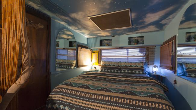 The 'sky room' is a cosy refurbished caravan. Photo: Airbnb