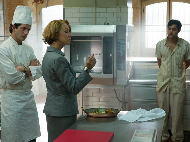 Hassan Kadam (Manish Dayal, right) endures Madame Mallory's (Helen Mirren) scrutiny of his culinary work as chef Jean Pierre (Clement Sibony) looks on. Picture: Supplied