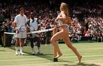<p>MaliVai Washington and Richard Krajicek watch as a streaker runs across Centre Court before the start of the Men's Singles final at the Wimbledon tennis championships</p>