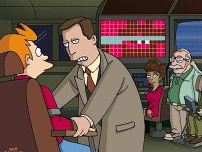"Stephen Hawking, with ""Al Gore"" on Futurama, where he had a recurring role. Picture: Supplied"