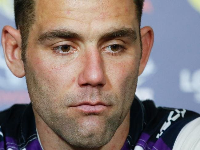 Cameron Smith, Captain of the Storm, at the post game media conference after the Round 22 NRL match between the North Queensland Cowboys and the Melbourne Storm at 1300SMILES Stadium in Townsville, Friday, August 4, 2017. (AAP Image/Michael Chambers) NO ARCHIVING, EDITORIAL USE ONLY