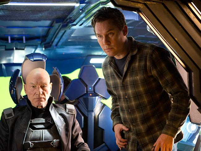 Sir Patrick Stewart (as Professor X) on the Montreal set of X-Men: Days of Future Past with director Bryan Singer.