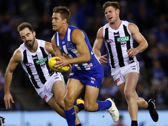 Swallow played 16 games in 2017 for North Melbourne, bringing his career total to 224. Pic: Michael Klein