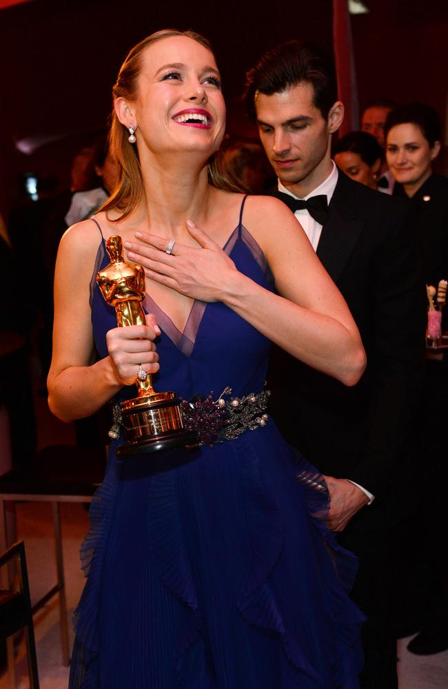 "Brie Larson, winner of the award for best actress in a leading role for ""Room"", attends the Governors Ball after the Oscars on Sunday, Feb. 28, 2016. Picture: Al Powers/Invision/AP"