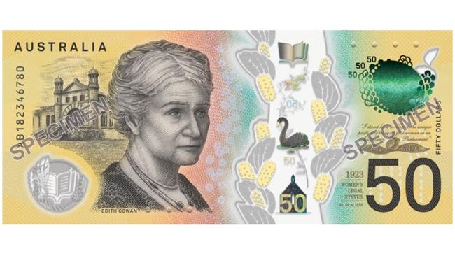 The serial number side featuring Edith Cowan.