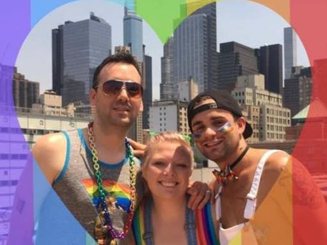 Chris, 38 and Matt Brandt, 28, are in a throuple with Cait Earnest, 28. Picture: Facebook