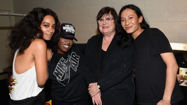 (L-R) Solange Knowles, Missy Elliott, Margareta van den Bosch, and Alexander Wang pose backstage at the Alexander Wang X H&M Launch on October 16, 2014 in New York City. (Photo by Dimitrios Kambouris/Getty Images for H&M)