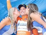 Gerrans, in the leaders jersey, gets a kiss. Picture: Sarah Reed.