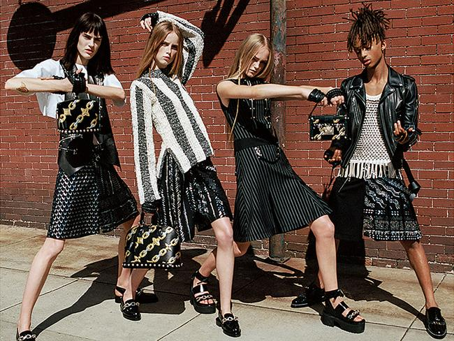 Jaden Smith (right) pictured in the new Louis Vuitton women's fashion campaign. Picture: Splash/Louis Vuitton