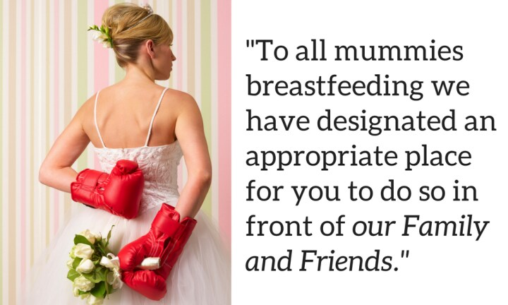 Bride-to-be slammed for telling wedding guests to breastfeed in bathroom