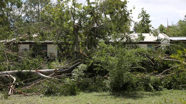 This Esk home could hardly be seen through the trees that came down on it. Picture: Jack Tran