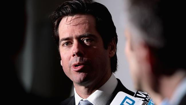 Gillon McLachlan talks to the media.