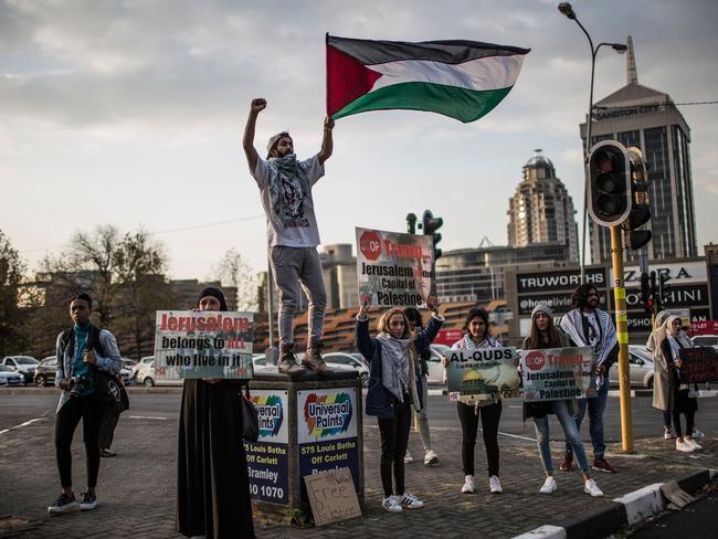 Members of pro-Palestinian groups demonstrate outside the US Consulate General in Johannesburg. Picture: AFP/Gulshan Khan
