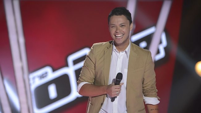 The Voice Australia contestant Nathan Allgood celebrates after his blind audition. Picture: Channel Nine