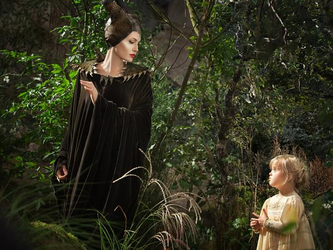 Maleficent, played by Angelina Jolie, and young Aurora, played by Vivienne Jolie-Pitt. Picture: Frank Connor/Disney Enterprises