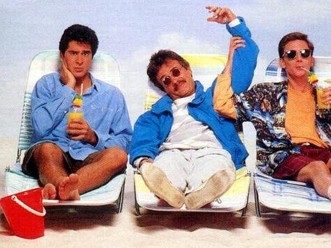 The 1987 film Weekend at Bernie's featuring (left to right) Jonathan Silverman, Terry Kiser and Andrew McCarthy.