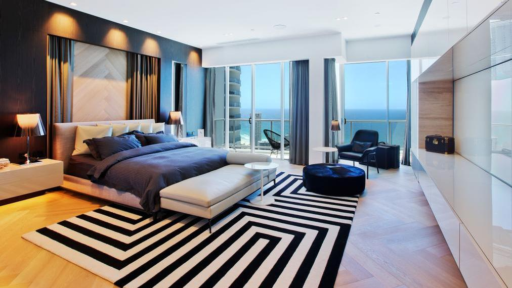 The penthouse has four luxury bedrooms.
