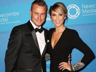 MELBOURNE, AUSTRALIA - NOVEMBER 23: Lleyton Hewitt and Bec Hewitt arrive at the 2015 Newcombe Medal at Crown Palladium on November 23, 2015 in Melbourne, Australia. (Photo by Scott Barbour/Getty Images)