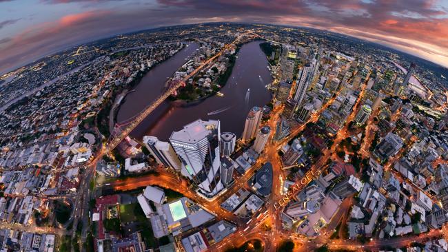360 panoramas: birds-eye view of Brisbane. Incredible new interactive imagery showcases Australia's most stunning cities. Photo: lensaloft.com.au