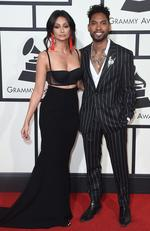Nazanin Mandi and Miguel attend The 58th GRAMMY Awards at Staples Center on February 15, 2016 in Los Angeles. Picture: Getty