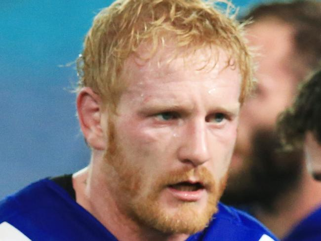 the Bulldogs' James Graham after a Cowboys try during the Canterbury Bulldogs v North Queensland Cowboys NRL round 10 game at ANZ Stadium, Sydney Olympic Park. pic Mark Evans