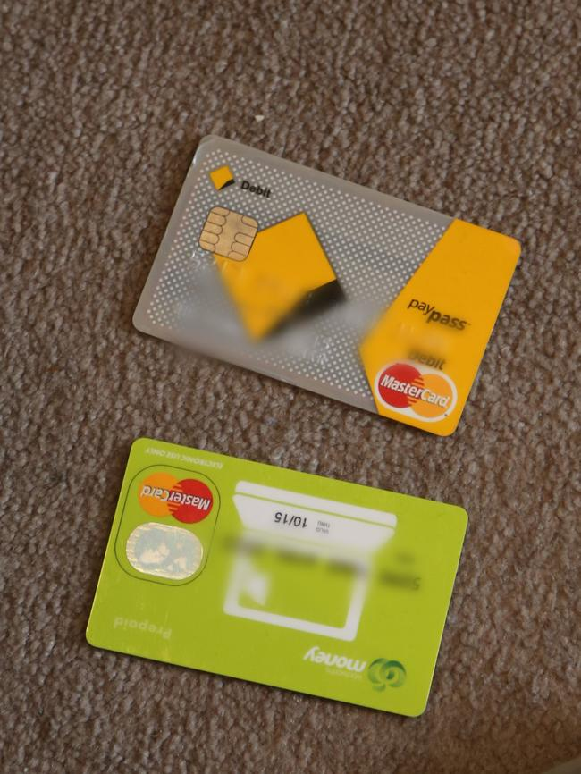 Fake credit cards seized during the raid.