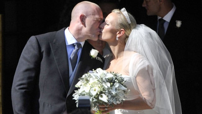 Zara Phillips and rugby player Mike Tindall celebrate their wedding last year. Picture: Splash News