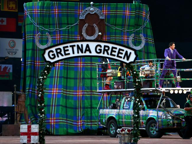 That is just ... excellent. A giant kilt at the opening ceremony.