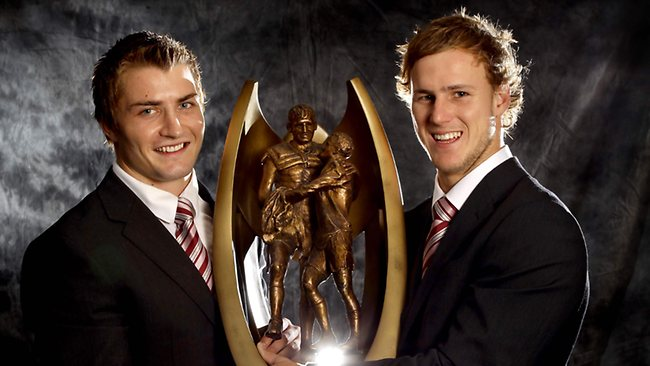 Manly Sea Eagles Daly Cherry-Evans and Kieran Foran with the NRLpremiership trophy at the NRL 2012 season launch in Sydney.  Picture: Gregg Porteous
