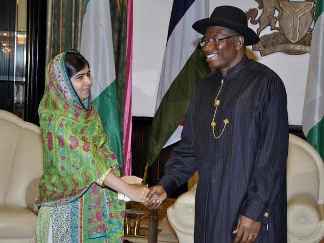 Urging action ... Malala Yousafzai meets with Nigerian President Goodluck Jonathan at the Presidential villa in Abuja.