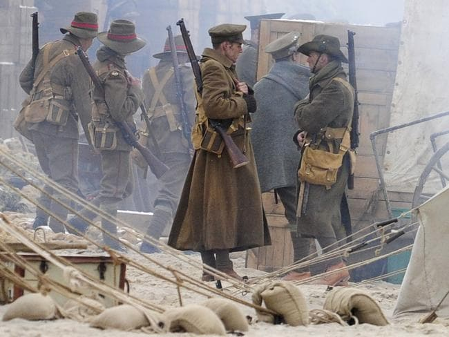 A scene from Deadline Gallipoli being filmed at South Australia's Maslin Beach. Pic: Mark Brake