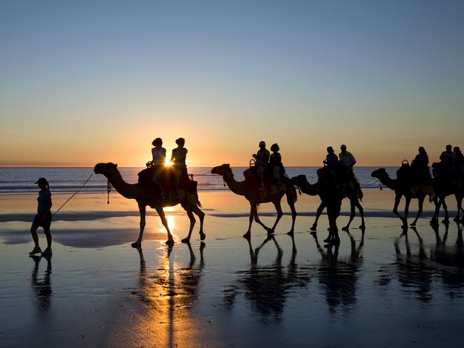 Camel riding on Cable Beach in Broome, Western Australia.