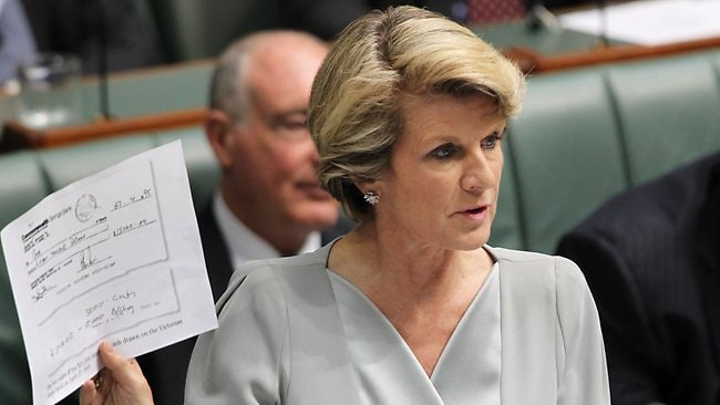 Julie Bishop holds up a document as she questions Julia Gillard in parliament over the AWU affair. Picture: Gary Ramage