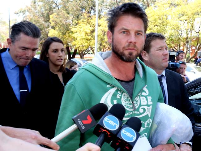 Ben Cousins walks from court after being granted bail. The former AFL footballer was charged with breaching a VRO and possession of methamphetamine. Picture: Bohdan Warchomij