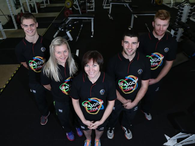 The Commonwealth Games. Australian sprint team from left to right: Matthew Glaetzer, Stephanie Morton, Anna Meares, Nathan Hart and Peter Lewis. Picture: Tait Schmaal.